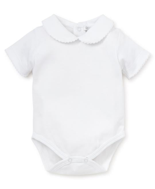 White Kissy Basic Short Sleeve Bebe Collar Bodysuit