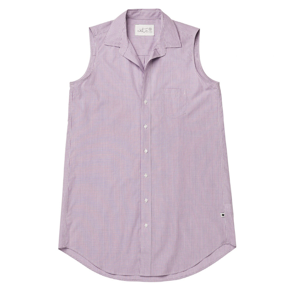 Lavender Check Luxe Pima Sleeveless Might Shirt