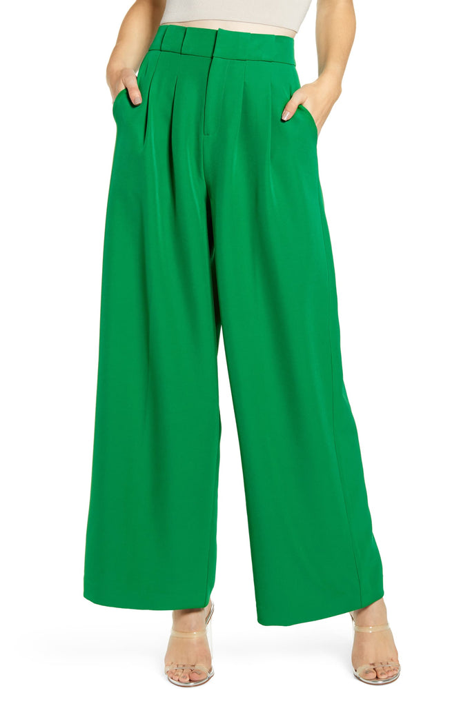 High Waist Wide Trousers in Green