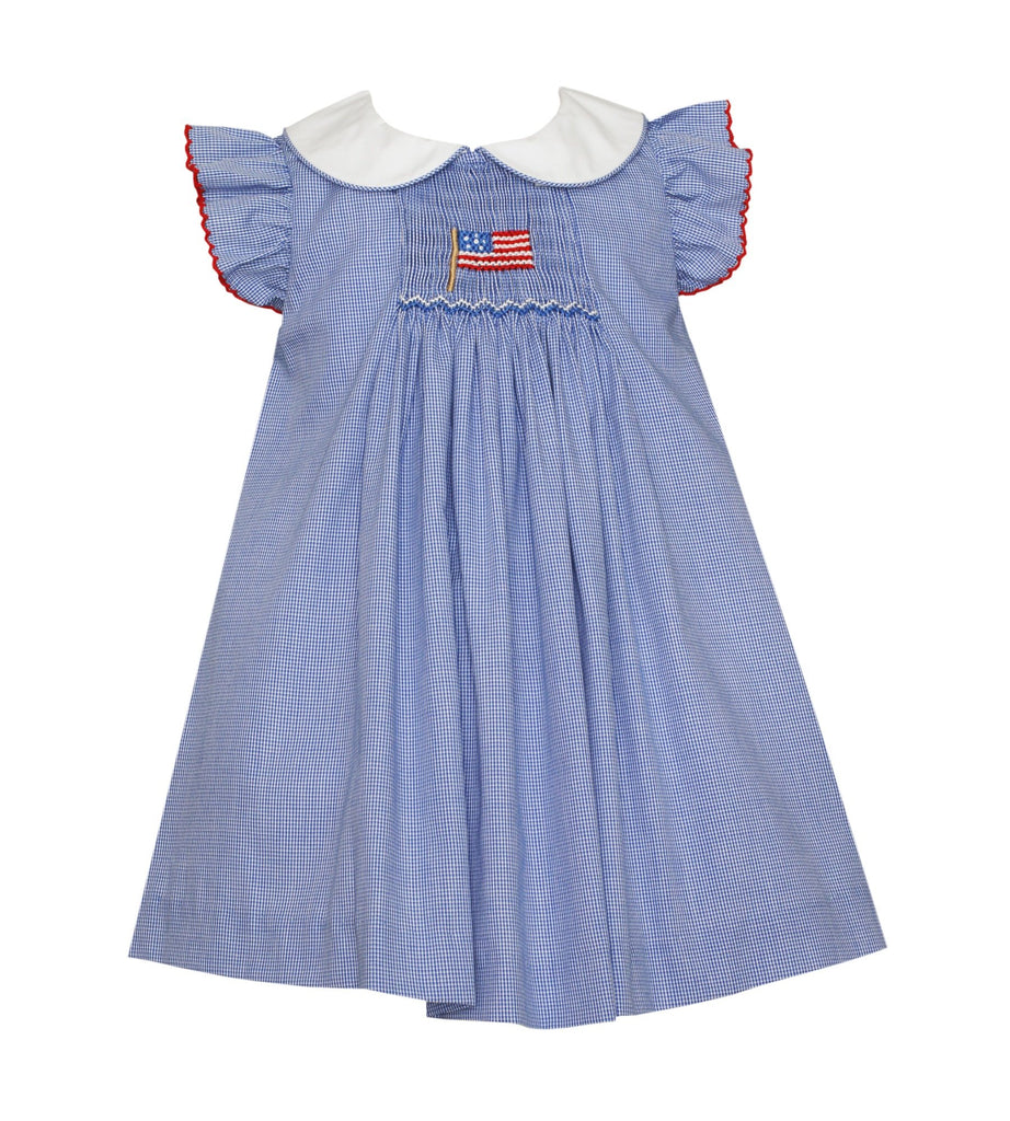 Flag Float Dress with White Collar & Ruffle Sleeves