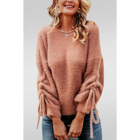 Round Neck Soft Mohair Pullover Sweater