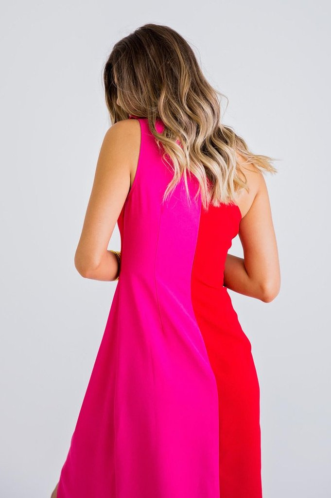 Color Block Knot One Shoulder Maxi Dress