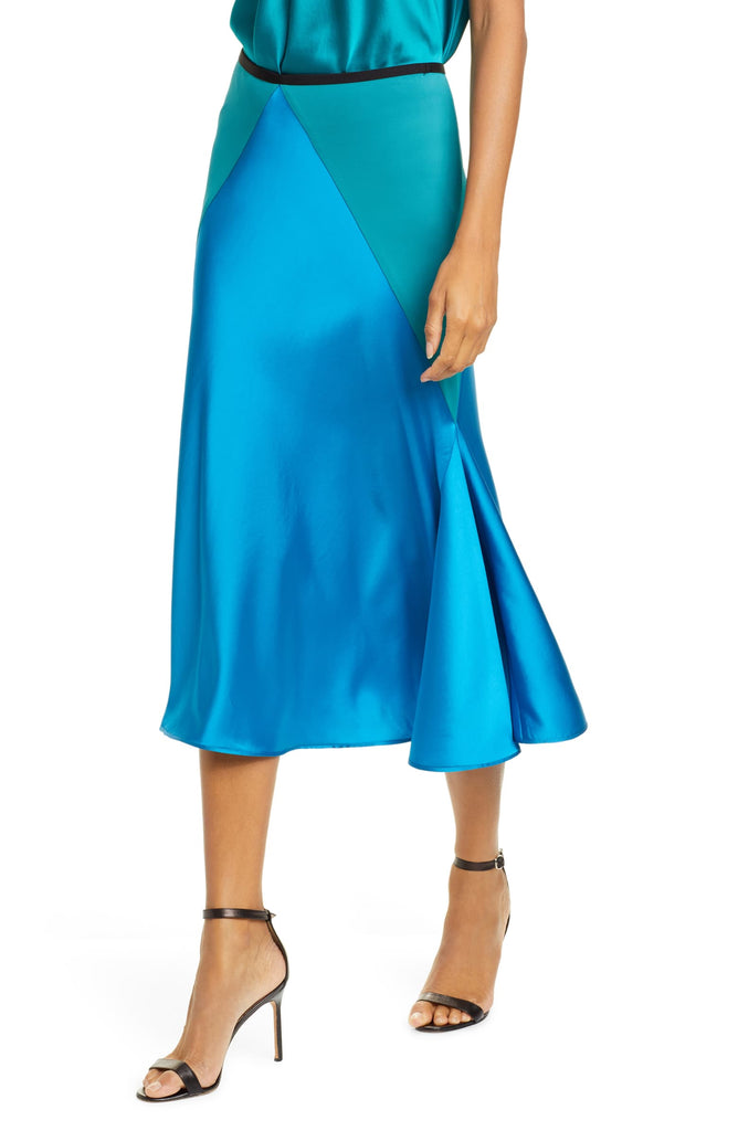 DVF Carole Colorblock Satin Midi Skirt
