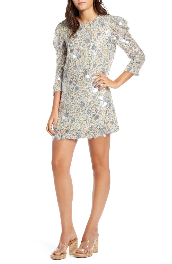 Floral Dress with Clear Sequins