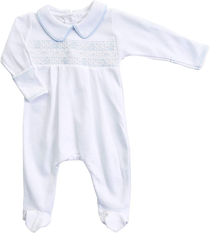 Lia and Luca's Classics Smocked Collared Footie LB