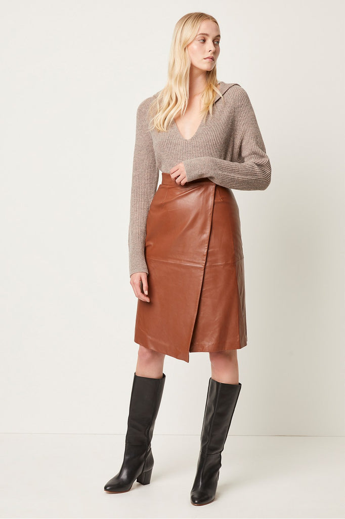 Abri Leather Knee Length Wrap Skirt
