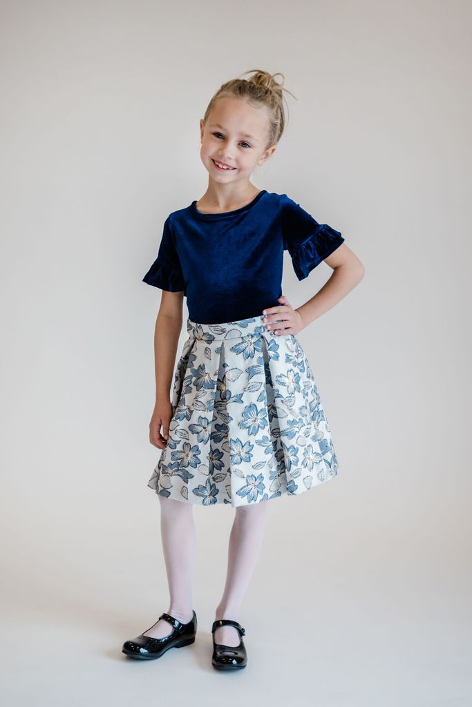 Gold and Navy Floral Pleated Skirt
