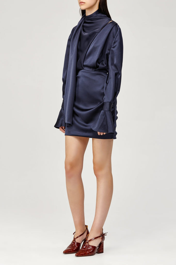 Soto Draped Mini Dress with Bell Cuffs