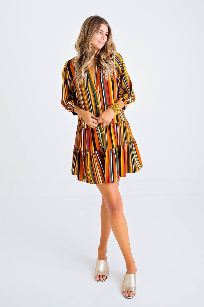 Multi Stripe Tier Dress