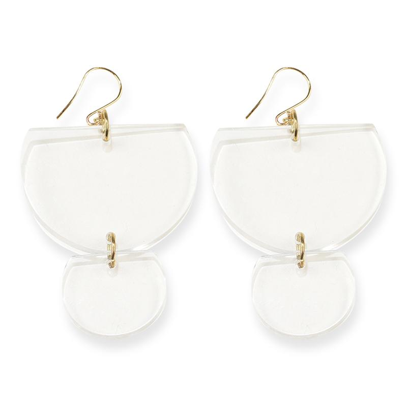 Lucite Double Half Round Earring