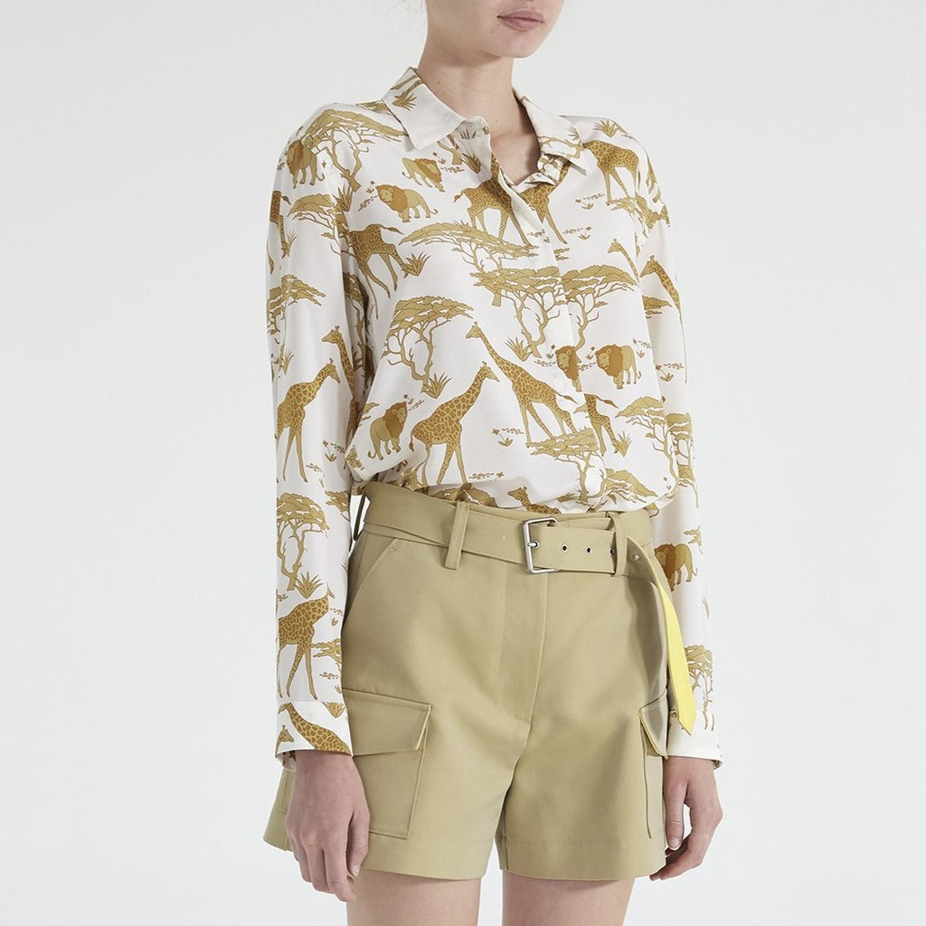 Leigh Silk Safari Button Down Shirt