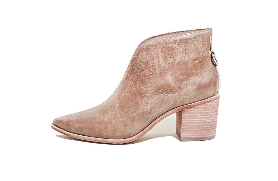Bellone Open Front Distressed Leather Booties