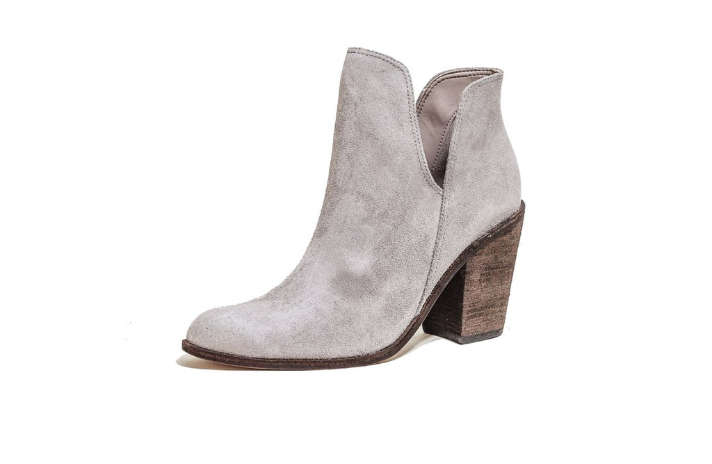 Gray Gattinara Open-Ankle Block-Heel Booties