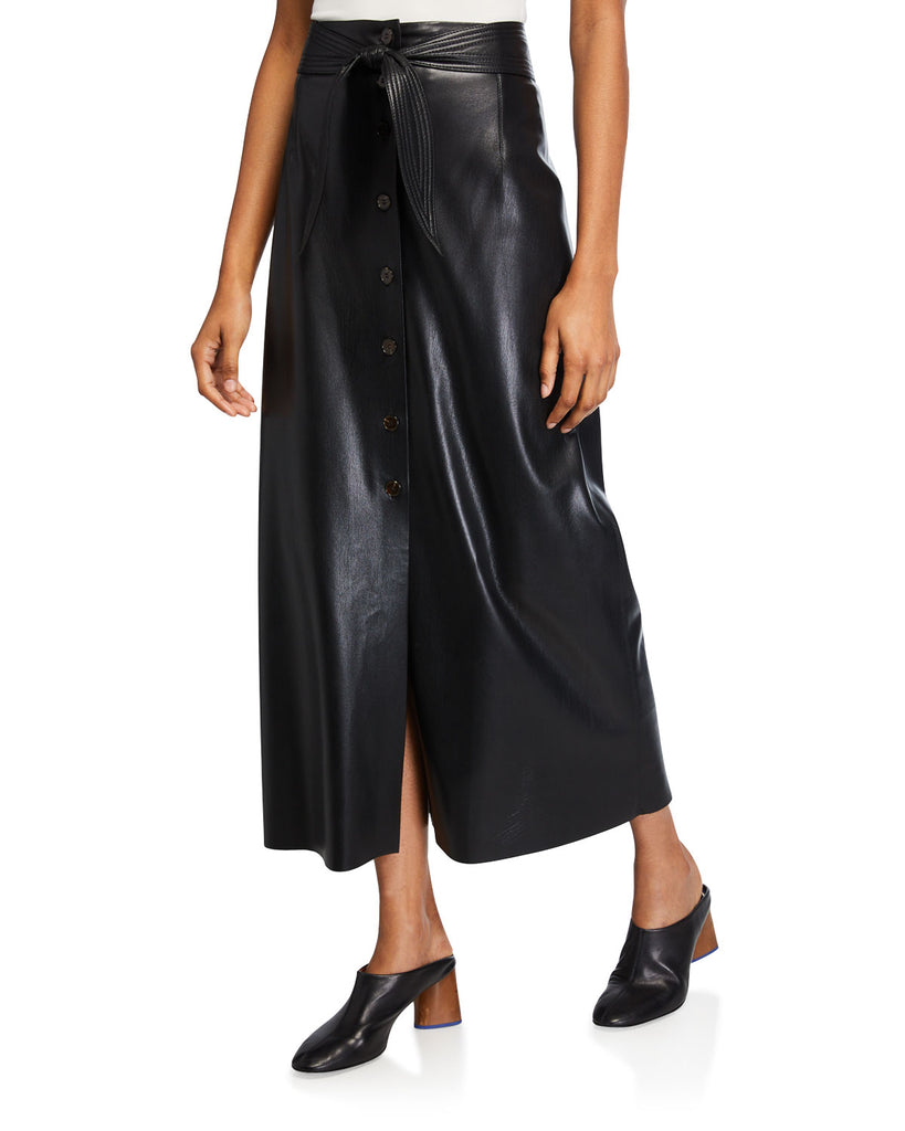 Arfen Vegan Leather Belted Skirt