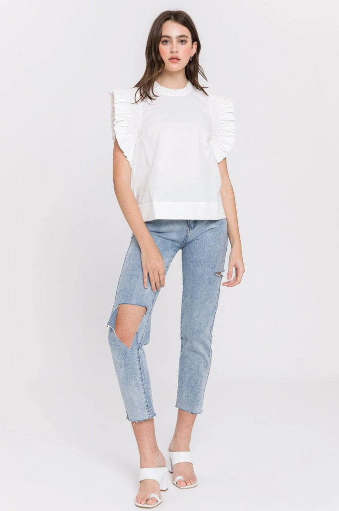 Ruffle Sleeve Poplin Top
