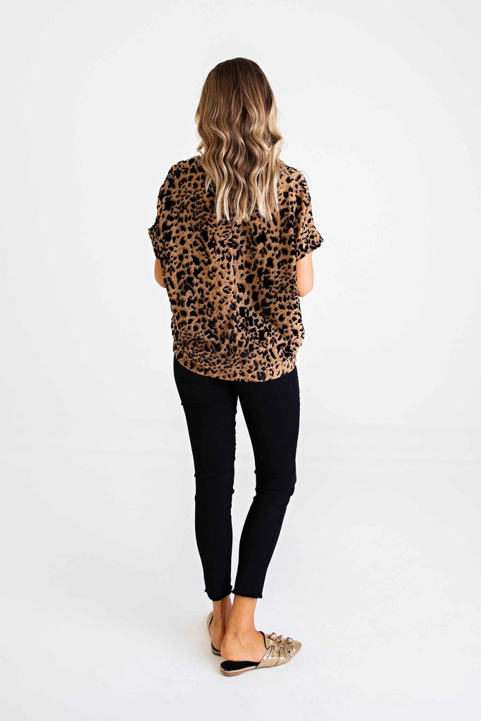 Leopard Burn-Out V Neck Top