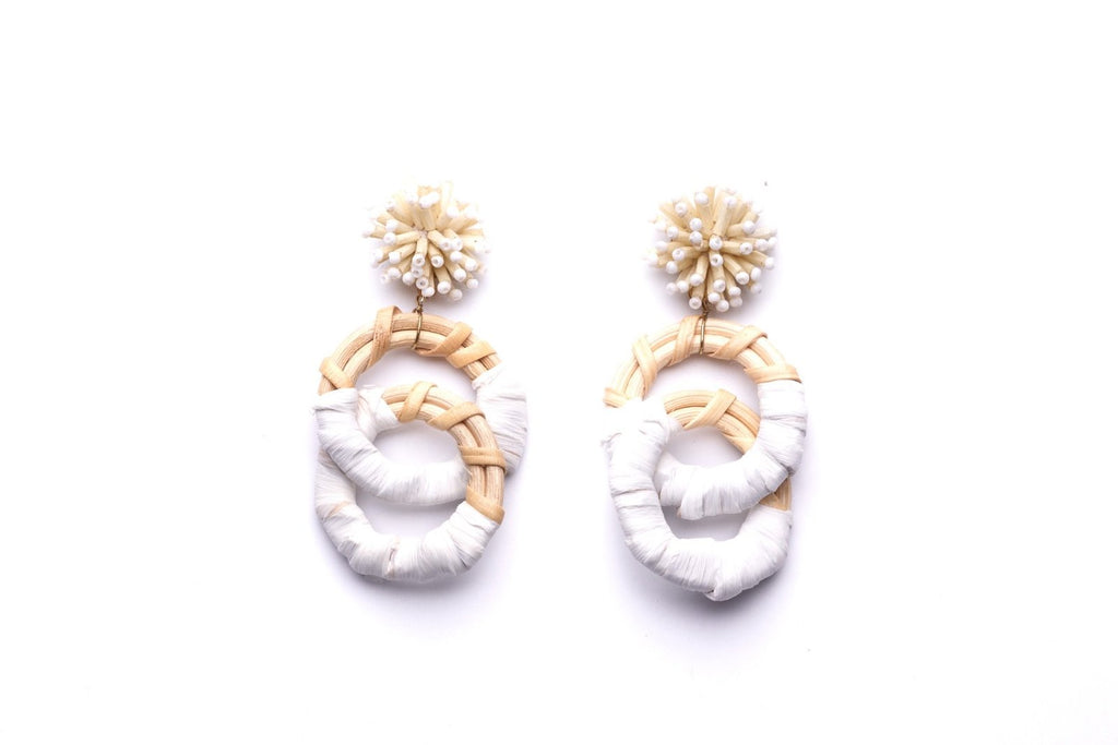 Rattan Loop Double Drop Earrings