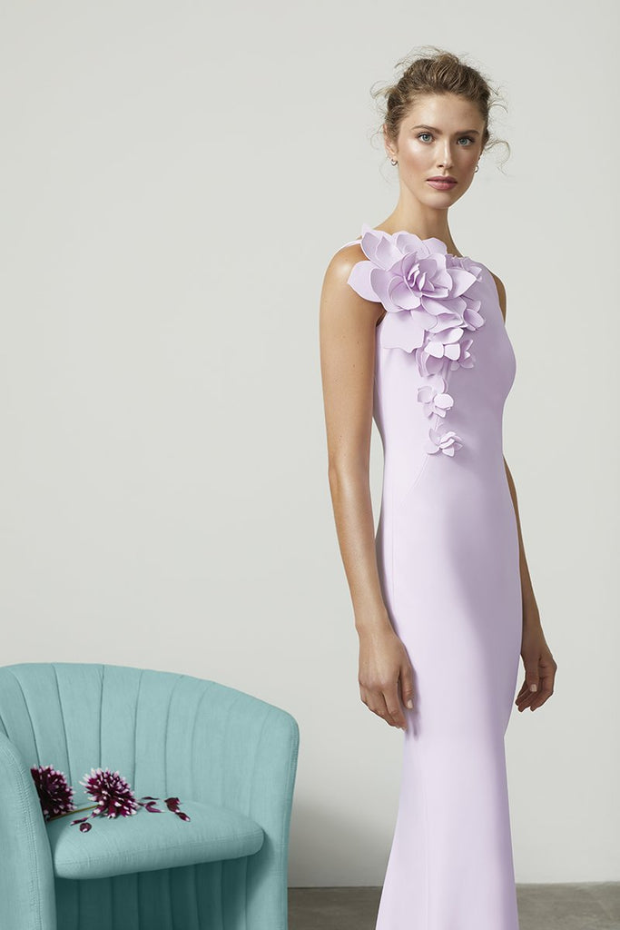 Lilac Gown with Floral Detail