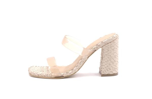 Florence Snake Embossed Heels with Vynil Straps