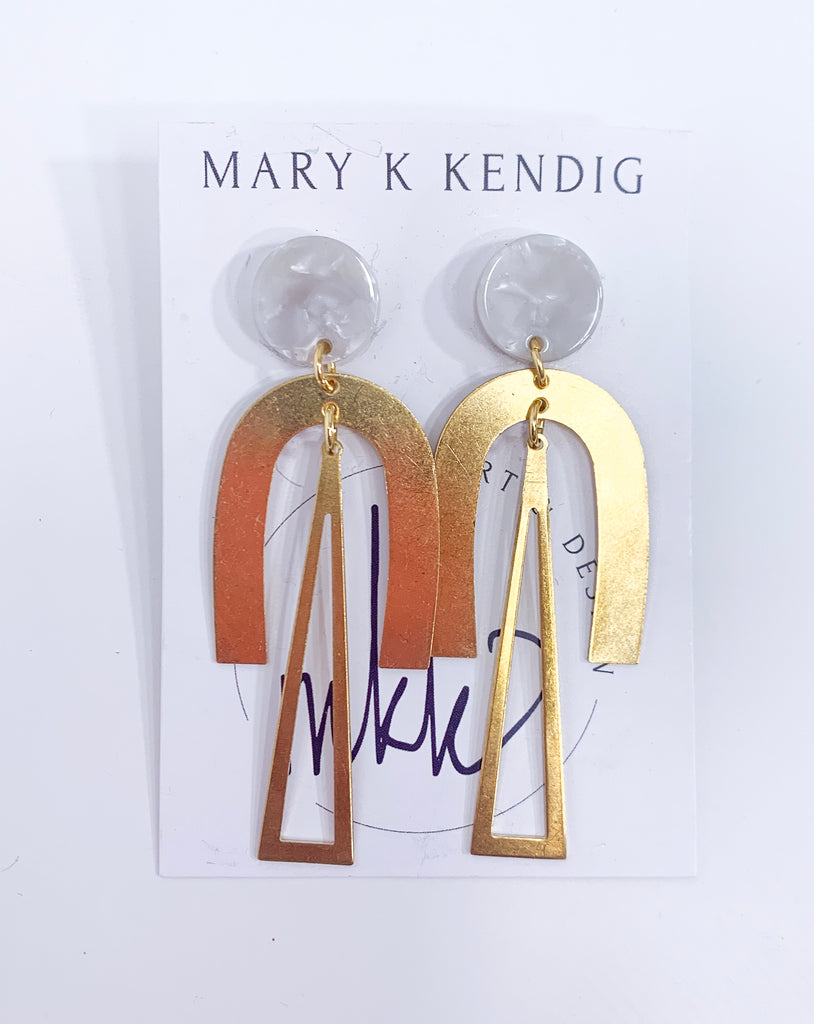 Mother of Pearl + Gold Geometric Dangle Earring