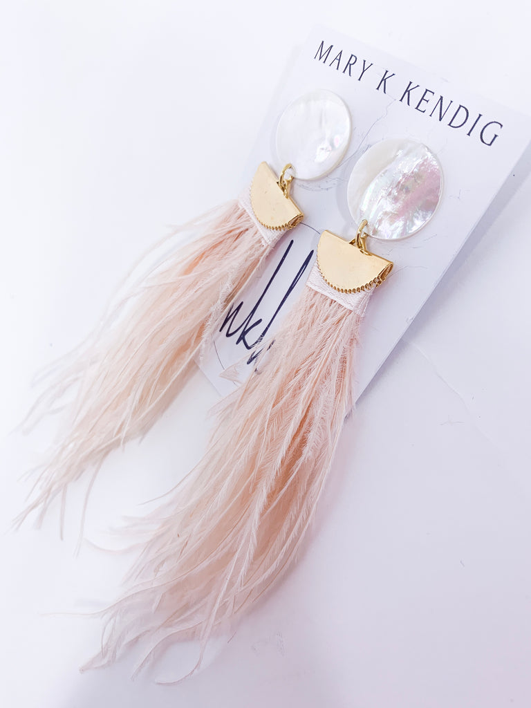 Mother of Pearl + Feather Earrings