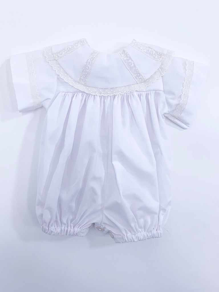 White Heirloom Bubble with Ecru Lace Collar