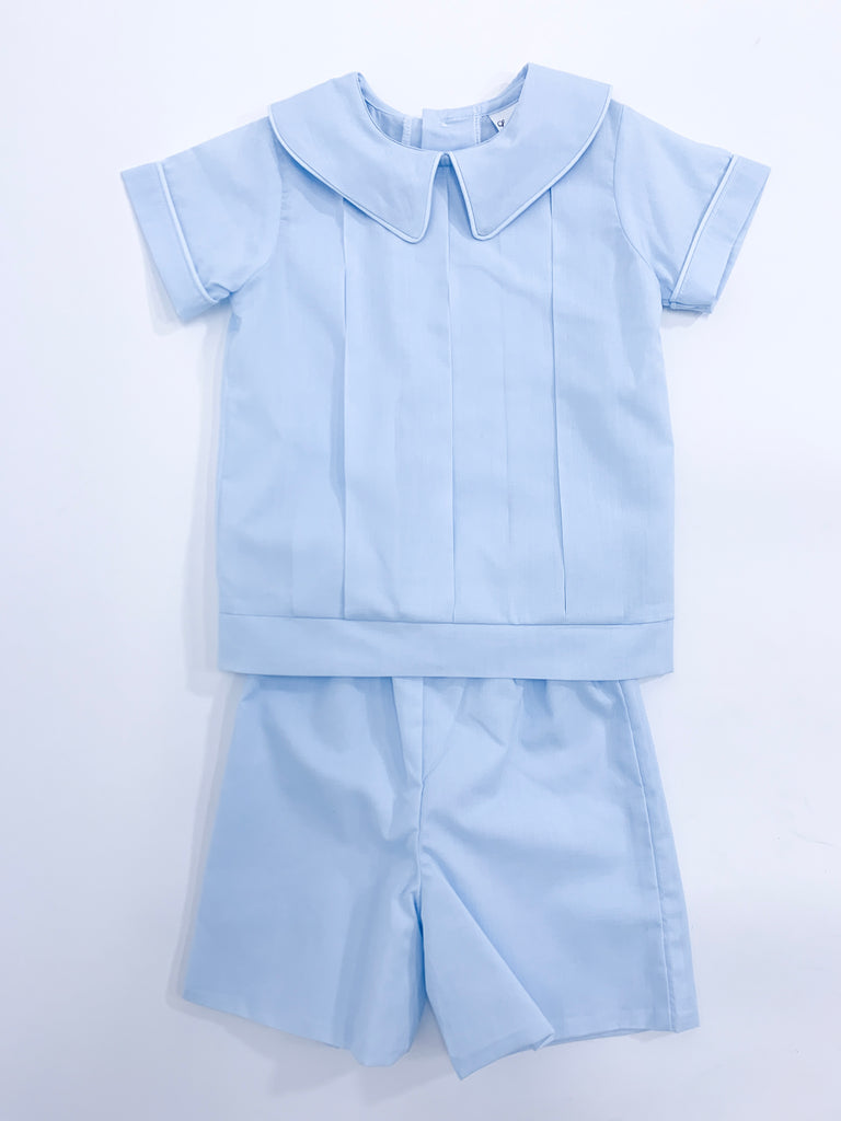 Baby Blue Pleated Short Set
