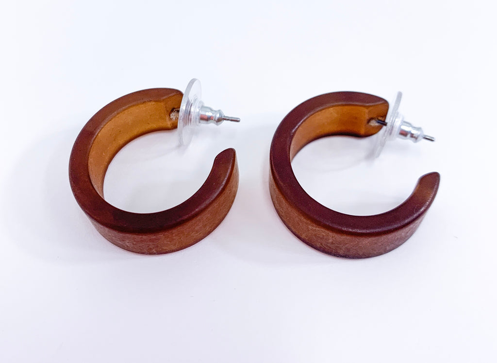 Chocolate Brown Frosted Wide Classic Hoops