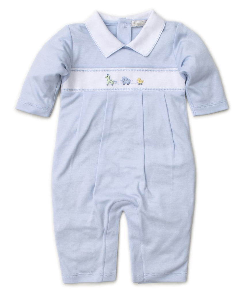 Hand Embroidered Premier Pull Toys Blue Playsuit