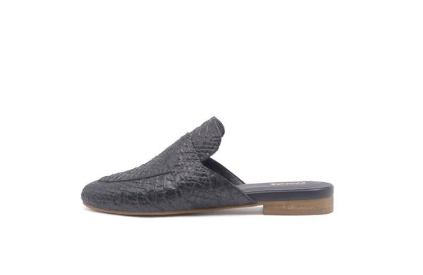 Milan Snake Embossed Loafer Mule