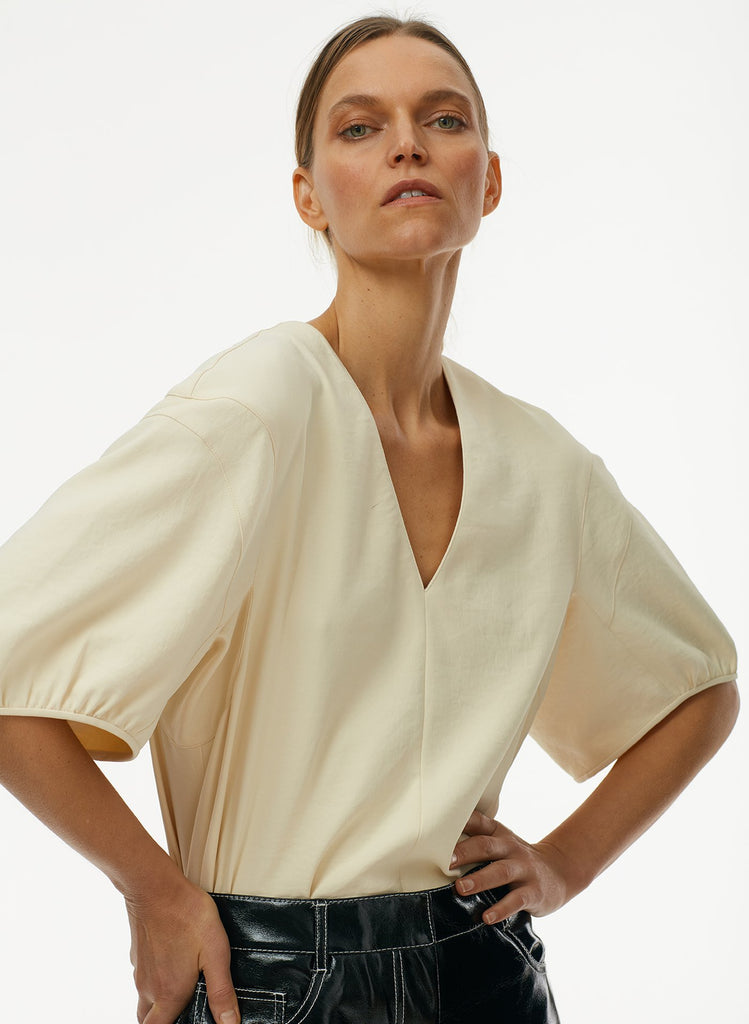 Chalky Drape V Neck Top