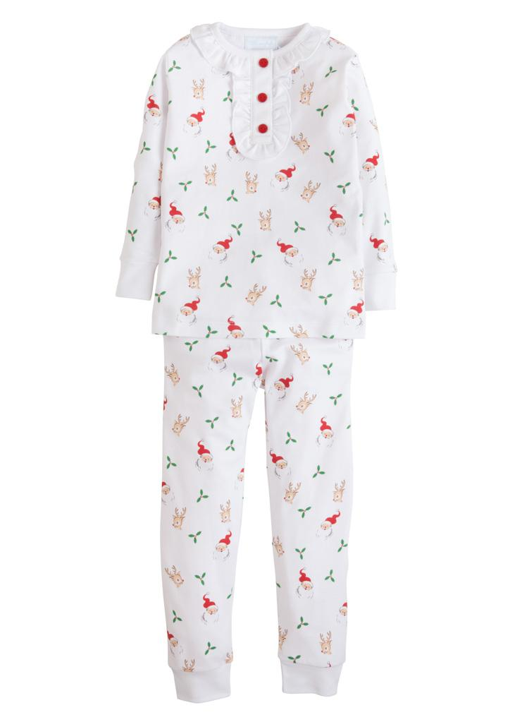 Girls Printed Jammies W/ Santa and Reindeer