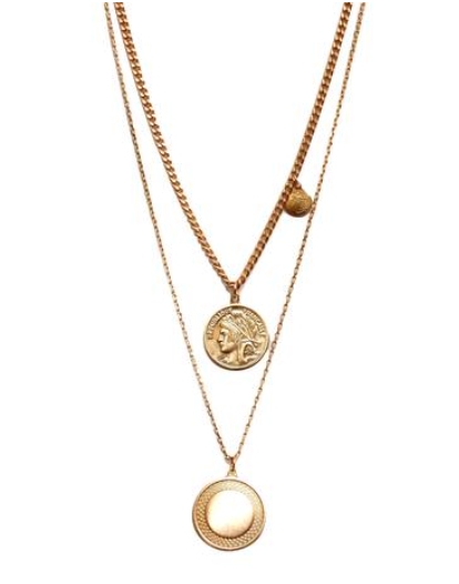 Athena 2 Layer Coin Necklace