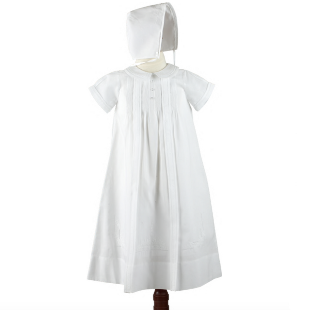 Pleated Boy Christening Gown w/Bonnet