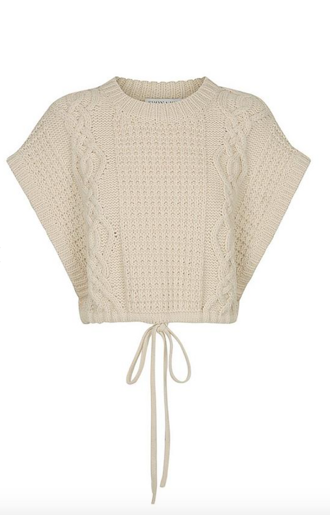 Camille Sleeveless Drawstring Cable Sweater