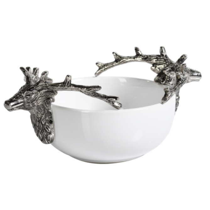 Ceramic and Metal Stag Head Bowl