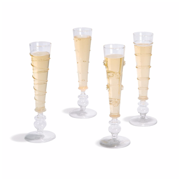 Hand-Blown Glass Champagne Flute