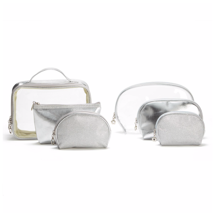 Metallic Clear Silver Cosmetic Cases