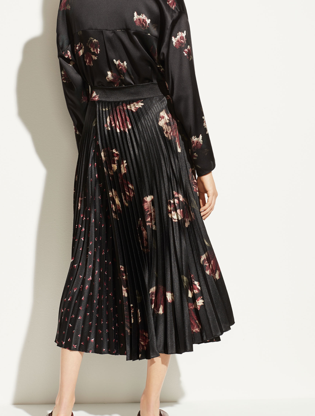 Vince Mixed Tulip Print Pleated Skirt