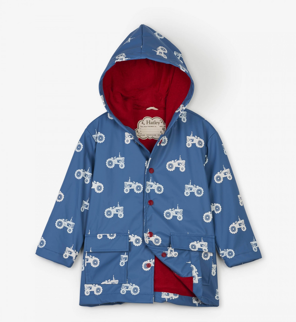 Hatley Blue Farm Tractors Color-Changing Raincoat
