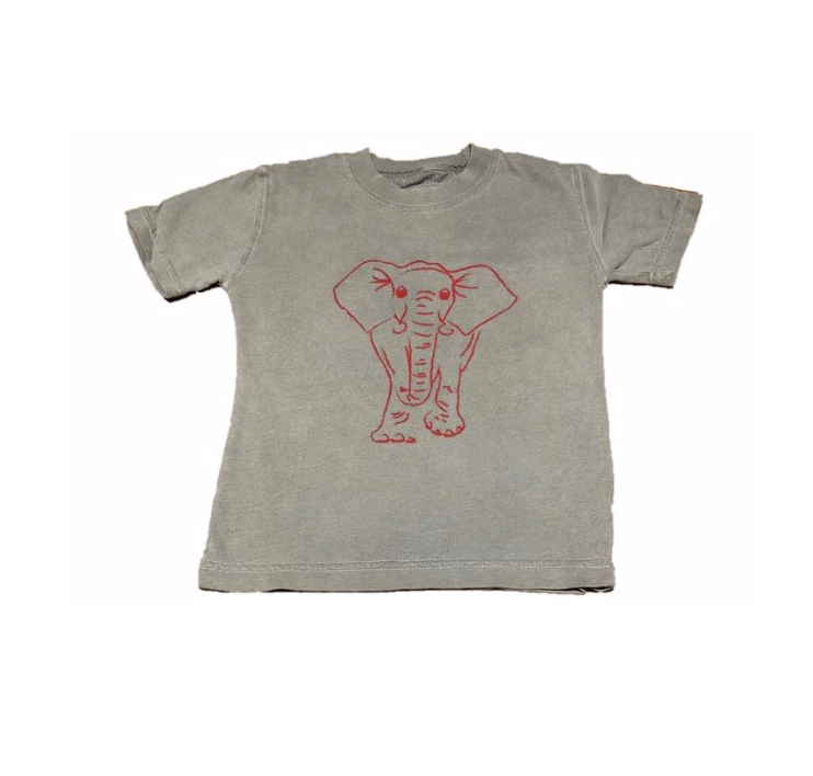 Mustard & Ketchup Kids- Alabama Elephant Short Sleeve Grey/Crimson Tee