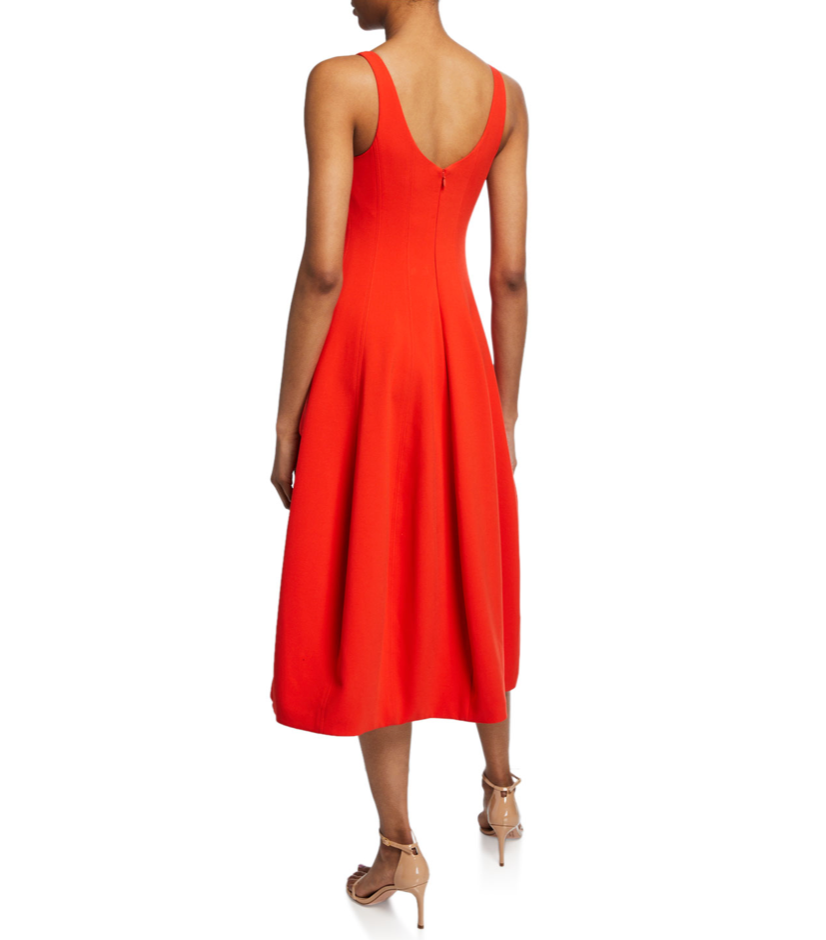 Halston Rojo Flare Dress