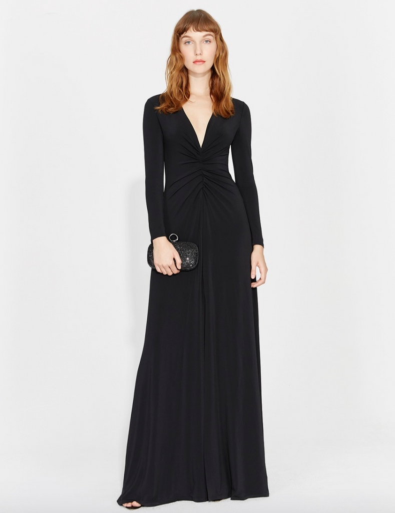 Halston Ruched Front Jersey Gown