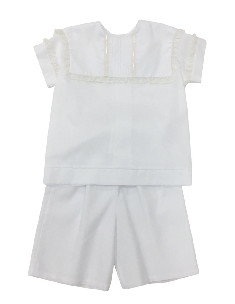 La Jenns Boys White & Ecru Heirloom 2pc Short Set