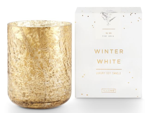 Winter White Small Mercury Glass Candle