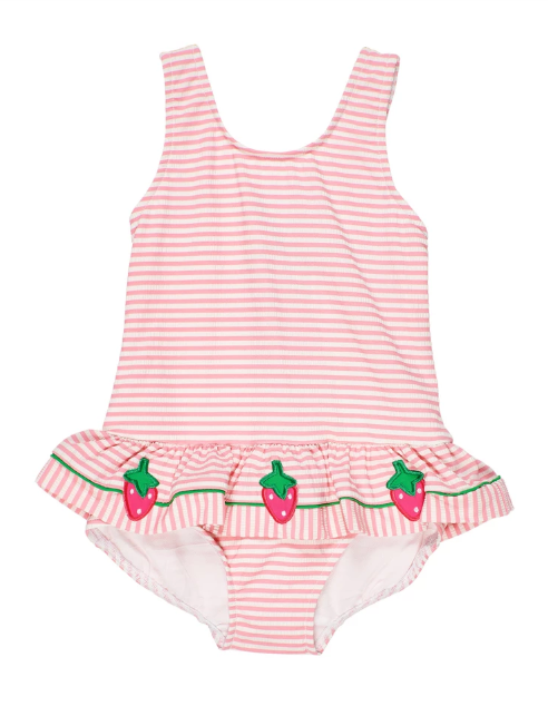 Seersucker Tank Swimsuit with Strawberries