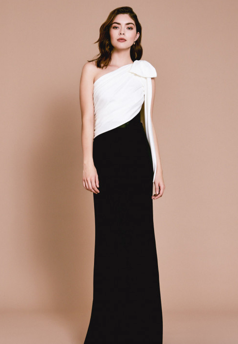 Mayer Asymmetric Bow Gown
