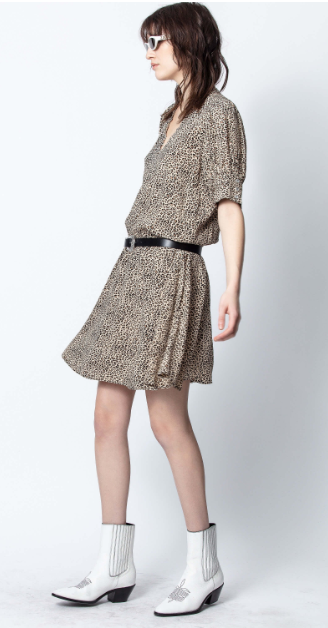Leopard-Print Short Dress with puff sleeves
