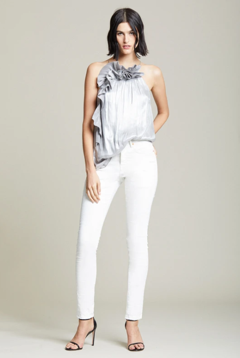 Halston Metallic Cascade Top