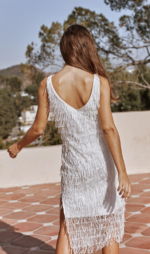 America Fringe Sequin Maxi Dress